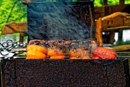 Paprika roasted on skewer, shashlik  on barbecue