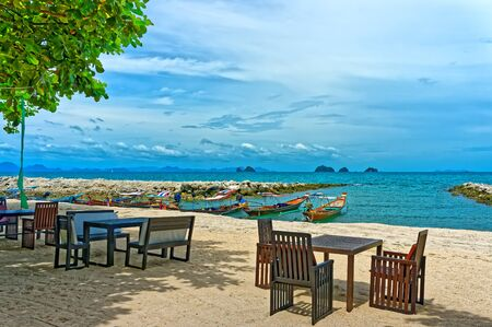 Boats on the shore of Thailand, beautiful seascape