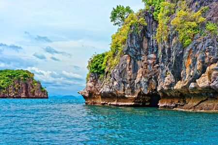 Thailand islands beautiful seascape, turquoise water and rocks Stock Photo