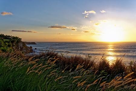 Sea horizon sunset. Bali island coast, Indonesia. Stock Photo