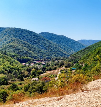 View of montain township in Caucasian region