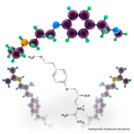 angor: Estructura de la mol�cula Metoprolol. Tres modelos de representaci�n tridimensional
