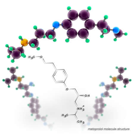 angina: Metoprolol molecule structure. Three dimensional model render