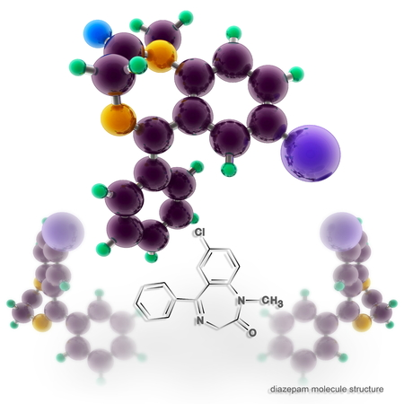 relaxant: Diazepam molecule structure. Three dimensional model render