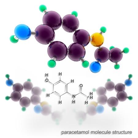 Paracetamol molecule structure. Three dimensional model render photo
