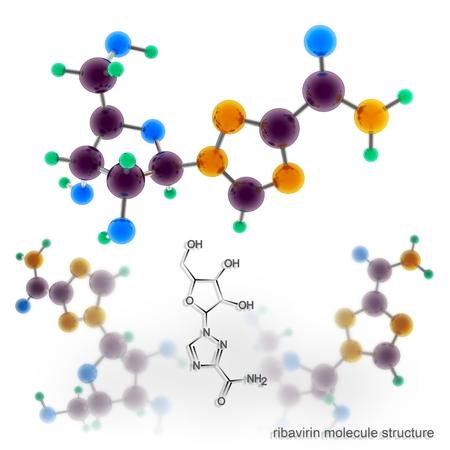 nucleoside: Ribavirin molecule structure. Three dimensional model render