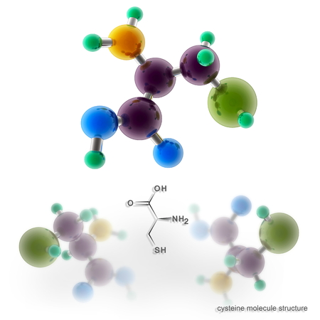 Cysteine molecule structure. Three dimensional model render Banco de Imagens