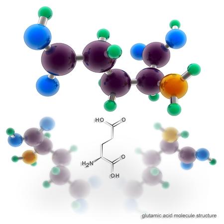 acido: Estructura de la molécula de ácido glutámico. Tres modelos de representación tridimensional