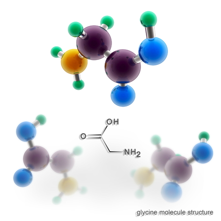 glycine: Glycine molecule structure. Three dimensional model render