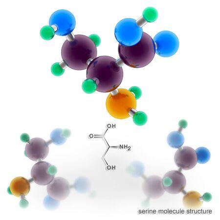 Serine molecule structure. Three dimensional model render Stock Photo
