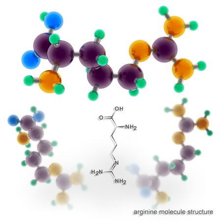 Arginine molecule structure. Three dimensional model render Banco de Imagens