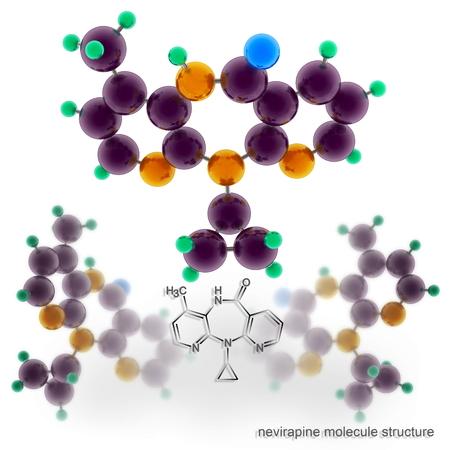 immunodeficiency: Nevirapine Viramune molecule structure. Three dimensional model render
