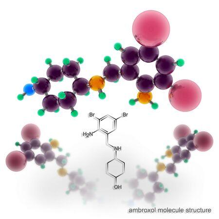 Ambroxol molecule structure. Three dimensional model render