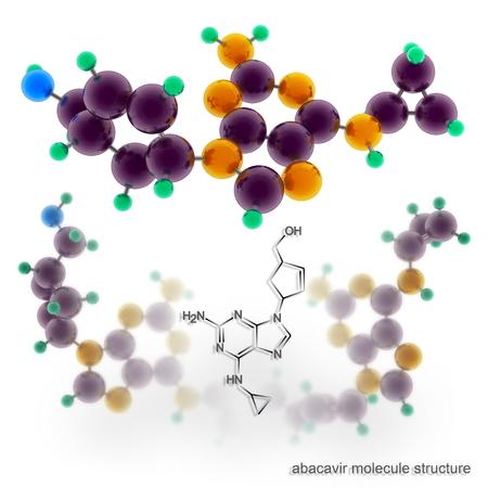 nucleoside: Abacavir molecule structure. Three dimensional model render