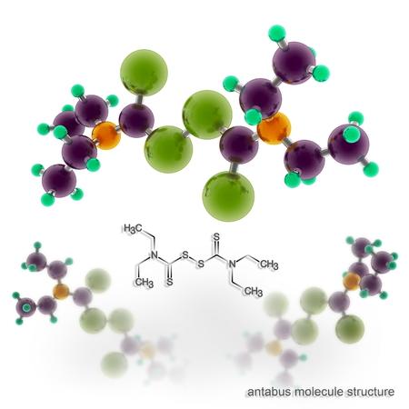 Disulfiram (Antabuse, Anticol, Esperal) molecule structure. Three dimensional model render