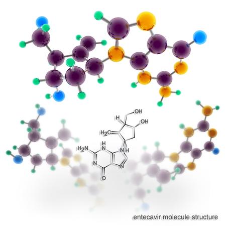 Entecavir (Baraclude) molecule structure. Three dimensional model render