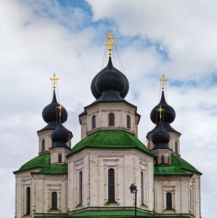 blue cloudy sky: Orthodox church domes against blue cloudy sky
