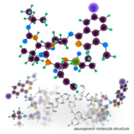 Asunaprevir molecule structure. Three dimensional model render