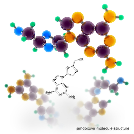 nucleoside: Amdoxovir molecule structure. Three dimensional model render