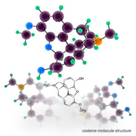 codeine: Codeine molecule structure. Three dimensional model render Stock Photo