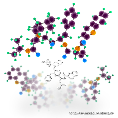 protease: saquinavir molecule structure. Three dimensional model render