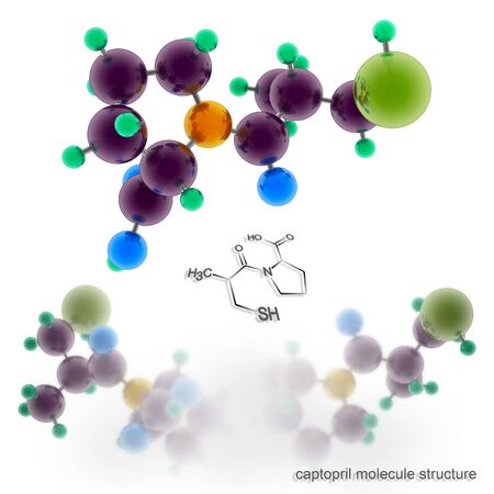 captopril molecule structure. Three dimensional model render