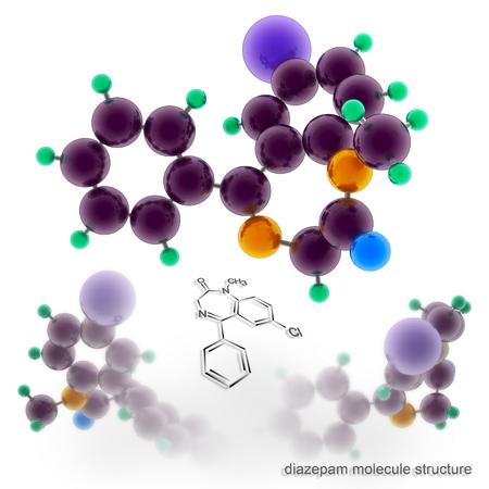 diazepam molecule structure. Three dimensional model render Stock Photo