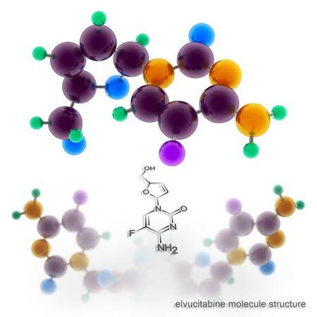 nucleoside: elvucitabine molecule structure. Three dimensional model render Stock Photo