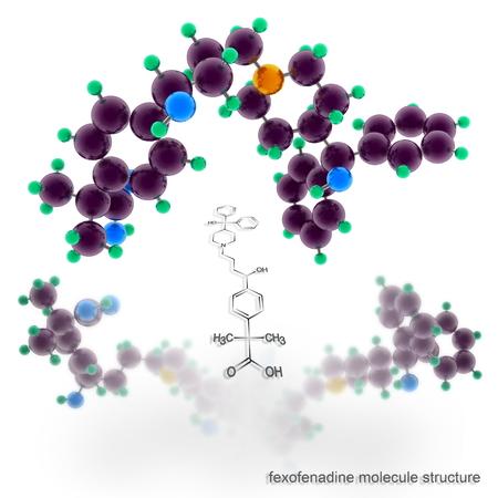 pokrzywka: Struktura cząsteczki feksofenadynę. Trzy wymiarowe renderowania modelu Zdjęcie Seryjne