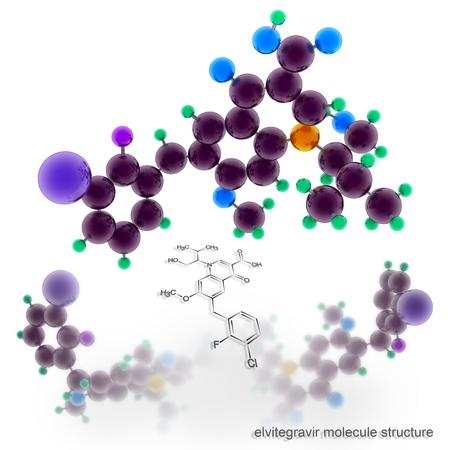 elvitegravir molecule structure. Three dimensional model render Stock Photo