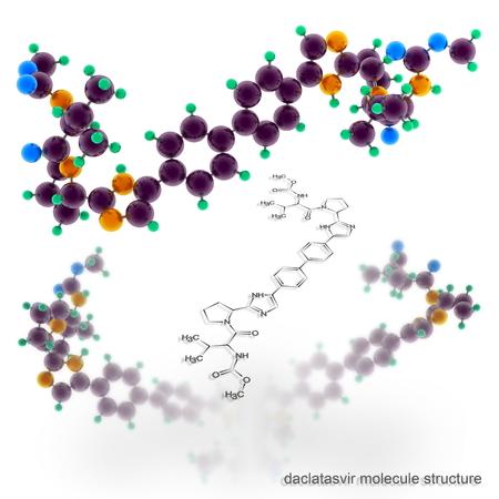 daclatasvir molecule structure. Three dimensional model render Stock Photo