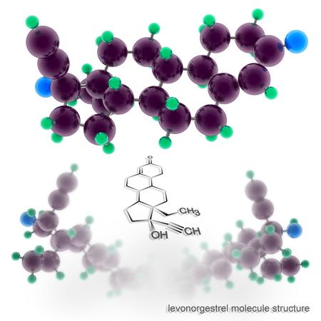 drug control: levonorgestrel molecule structure. Three dimensional model render Stock Photo