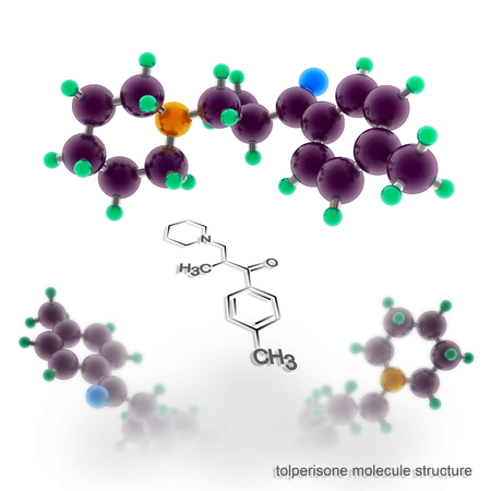 spondylosis: tolperisone, mydocalm molecule structure. Three dimensional model render