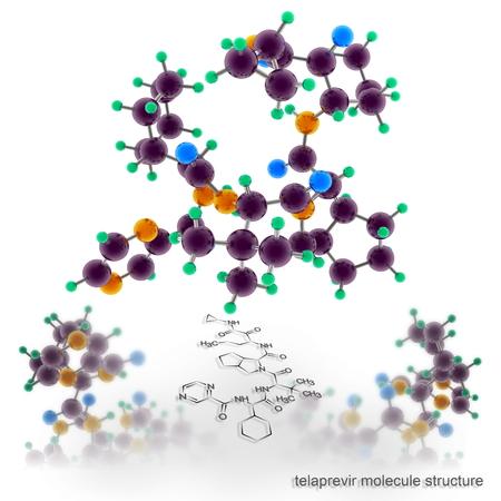 protease: estructura de la mol�cula telaprevir. Tres modelos de representaci�n tridimensional