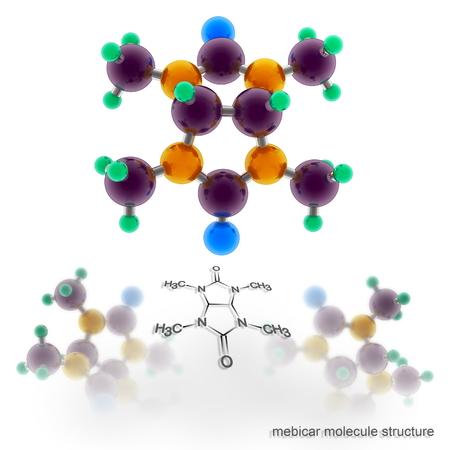 mebicar molecule structure. Three dimensional model render Stock Photo