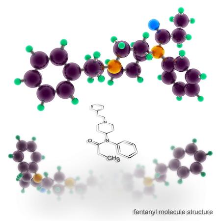 fentanyl molecule structure. Three dimensional model render