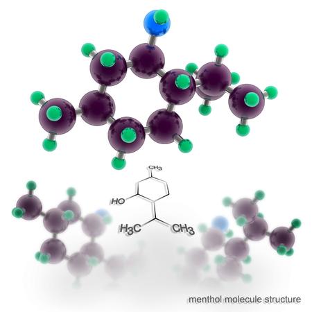 menthol: menthol molecule structure. Three dimensional model render Stock Photo