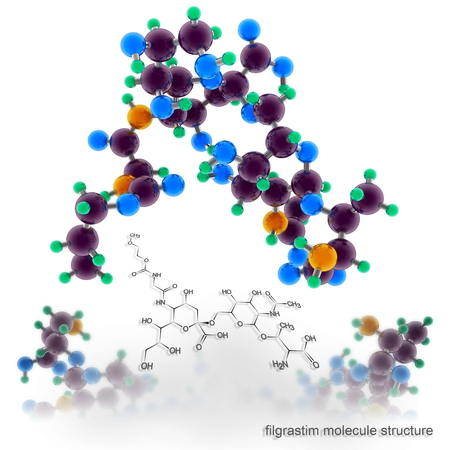 filgrastim molecule structure. Three dimensional model render Banco de Imagens