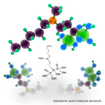 treating: ibandronic acid molecule structure. Three dimensional model render