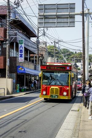kanagawa: KAMAKURA, JAPAN - MAY 06, 2012 : Bus in Kamakura, a coastal town in Kanagawa prefecture, Japan Editorial