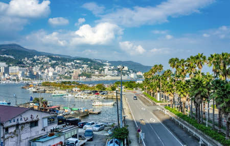 ATAMI, JAPAN - OCTOBER 27, 2012 : View on Atami City from Boat Rental Service locality Editorial
