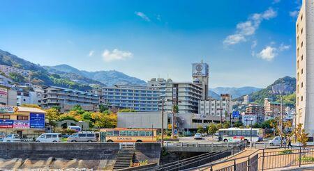 ATAMI, JAPAN - OCTOBER 27, 2012 : View of Atami city centered on Ohnoya hotel, Shizuoka prefecture, Japan