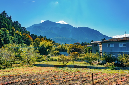 Garden at country house near Nikko town, Tochigi Prefecture, Japan. Stock Photo
