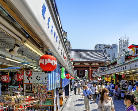 ASAKUSA, JAPAN - JULY 09, 2012 : View of Nakamise Shopping Street stretches near the Sensoji Temple - the oldest Buddhist temple in Tokyo Editorial