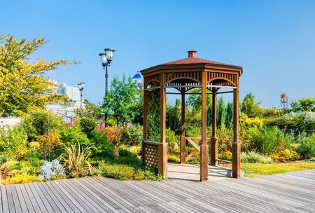 Wooden summerhouse in seaside park in Atami city, Jpan Stock Photo