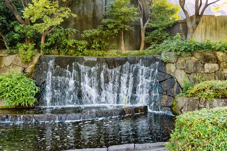 Small waterfall in Ueno Park, Tokyo, Japan