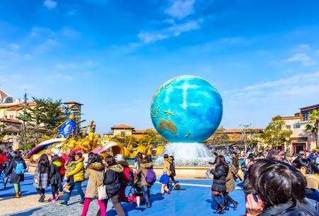 Tokyo, Japan - Feb. 01, 2013: People at the entrance of Tokyo Disney Sea.