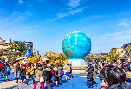 Tokyo, Japan - Feb. 01, 2013: People at the entrance of Tokyo Disney Sea.