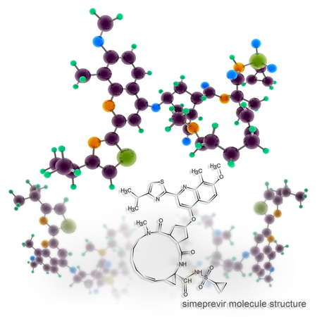 Simeprevir molecule atomic structure 3D rendering on white background