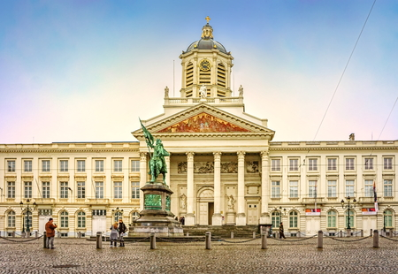 BRUSSELS, BELGIUM - JANUARY 05, 2013 : Church of Saint Jacques-sur-Coudenberg in Royal Square with statue of Godefroy de Bouillon, Brussels, Belgium Editorial